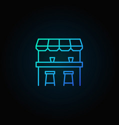 street bar blue icon - logo element in thin vector image