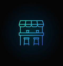 Street bar blue icon - logo element in thin vector
