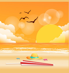 summer beach umbrella hat sunset background vector image