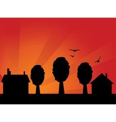 Sunset village vector