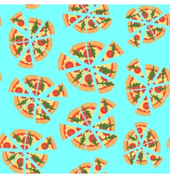 Texture of pattern with margherita pizza Slices in vector