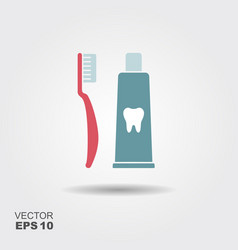 Toothbrush with toothpaste flat icon vector