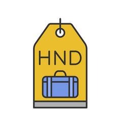 Travel baggage tag color icon vector