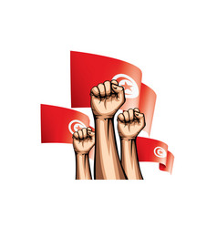 Tunisia flag and hand on white background vector