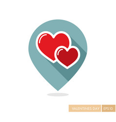 Two heart linear pin map icon vector