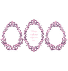 Vintage baroque pink frame decor detailed vector