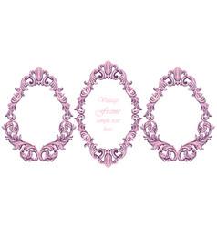 vintage baroque pink frame decor detailed vector image