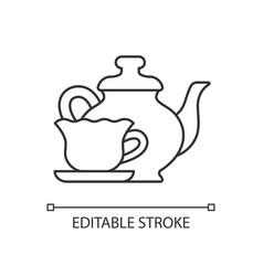 Vintage style tableware linear icon vector