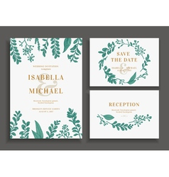 Vintage wedding set with greenery vector
