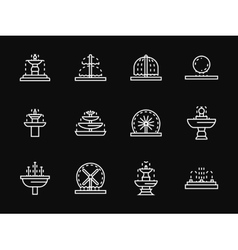 White line fountains architecture icons vector
