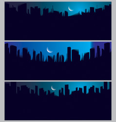 wide panorama night city skyscrapers silhouettes vector image