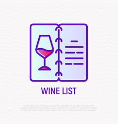 wine list opened menu with wine glass line icon vector image