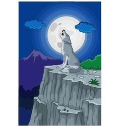 Wolf howling under full moon vector