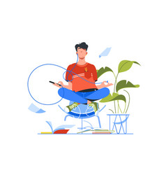 Young handsome man meditating using smartphone vector