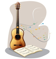 A guitar with a musical book vector image