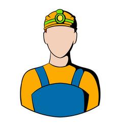 coal miner icon icon cartoon vector image vector image