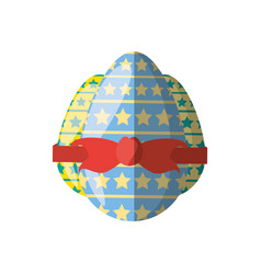 collection easter egg stars ribbon shadow vector image