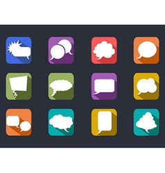 speech bubbles long shadow flat icons vector image