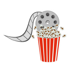 color pop corn with film production icon vector image vector image