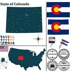 Map of Colorado vector image vector image