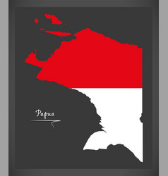 papua indonesia map with indonesian national flag vector image vector image