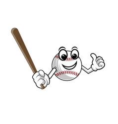baseball emblem a baseball holds a bat vector image