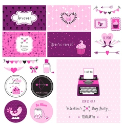 Cute Valentines Day and Love Scrapbook Set vector image vector image