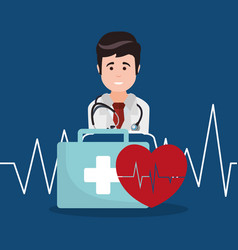 doctor kit first aid heartbeat vector image vector image