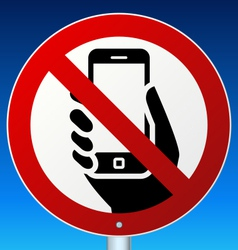 No mobile phones sign on blue vector image vector image