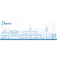 Outline Dover Skyline with Blue Buildings vector image vector image