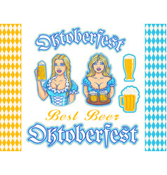 set stickers and patterns for oktoberfest vector image vector image