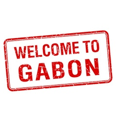 welcome to Gabon red grunge square stamp vector image vector image