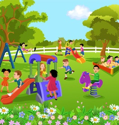 children playing in the garden vector image