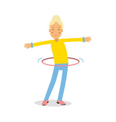 cute blonde teenager girl spinning a hula hoop vector image vector image