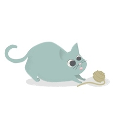 Cute cat playing with ball of yarn comic cartoon vector