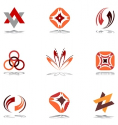 design elements in warm colors vector image vector image