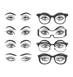female eyes and eyes with glasses vector image vector image