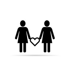lesbian couple icon with heart set in black vector image