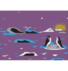 Penquins And Whale vector image vector image