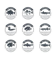 Perfect set of fish farming logos vector image vector image
