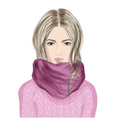 portrait of beautiful young woman in knitted vector image
