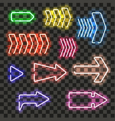 set of glowing neon arrows with different colors vector image vector image