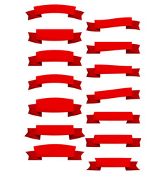 set of red cartoon ribbons and banners vector image