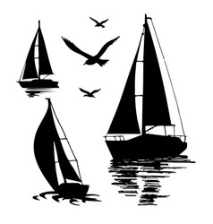 silhouette of a sailing boat on a white vector image vector image