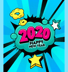 2020 happy new year banner with comic vector image