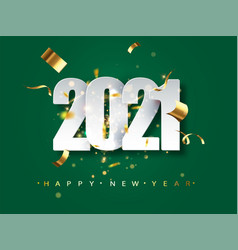 2021 new year greeting card on green background vector image
