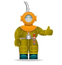 A man in an old diving suit underwater helmet vector