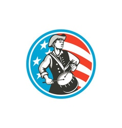 American Patriot Drummer USA Flag Circle Retro vector