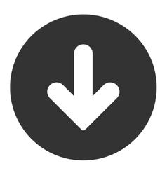 Arrow Down flat white and gray colors round button vector