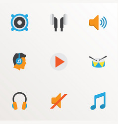 audio icons flat style set with earpiece ear vector image